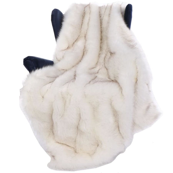 Luxury White Fox Faux Fur Throw Blanket