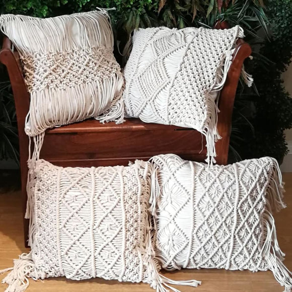 Macrame Cotton Hand-woven Pillow Covers - 450mm*450mm / A