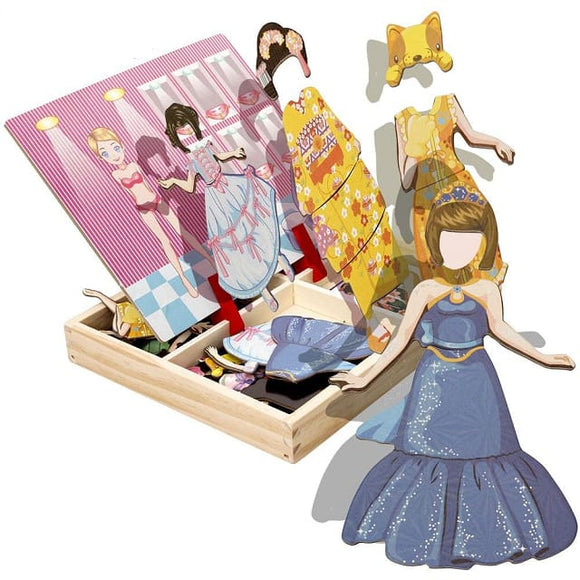 Magnetic Wood Doll Changing Cloths Puzzle - White