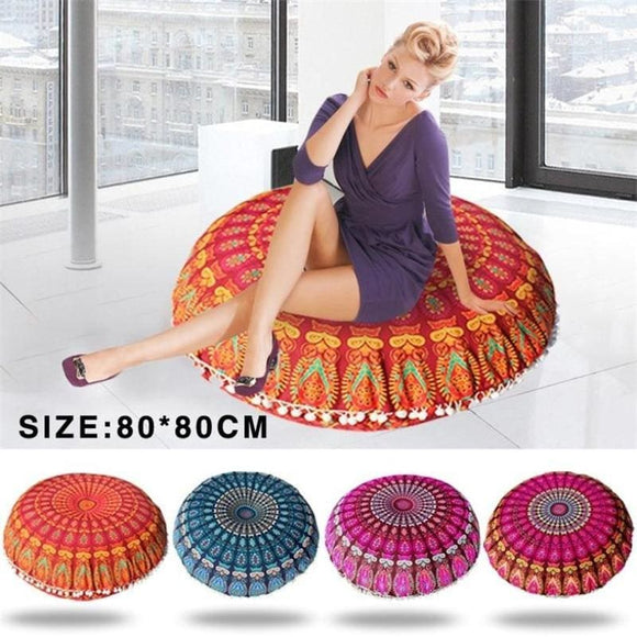 Mandala Round Floor Pouf Pillowcase