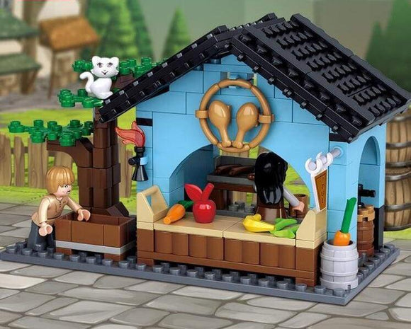 Medieval City Fresh Food Store Building Blocks Set