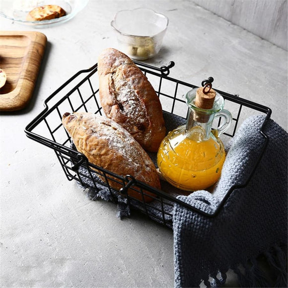 Minimalist Iron Wire Basket with Handle