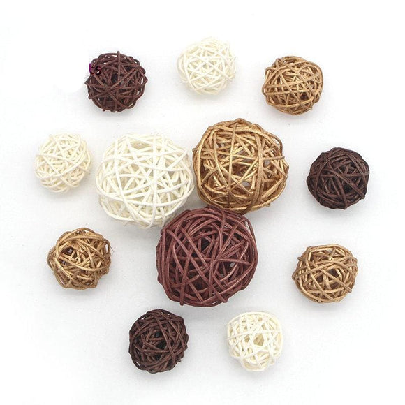 Mixed Rattan Adornment Balls - 12 Piece