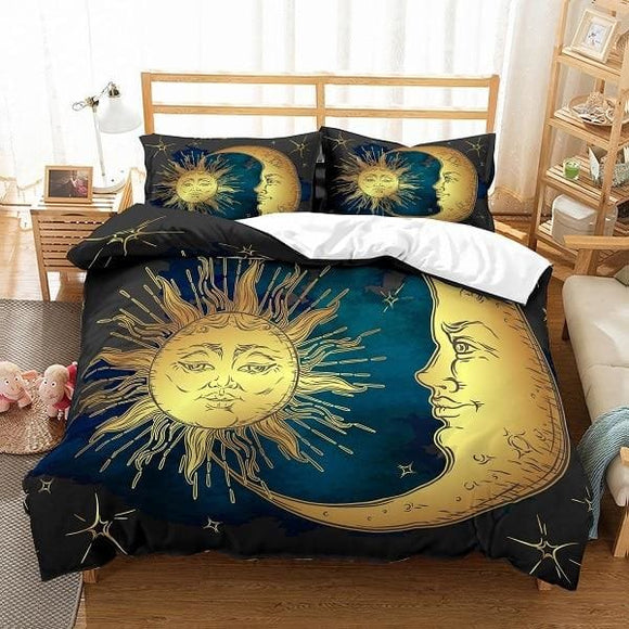 Moon and Sun Gold Blue Duvet Cover Set - Sun and Moon-Golden / US Full