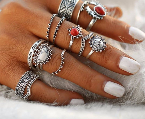 Moon And Sun Knuckle Ring Set - 14 Rings