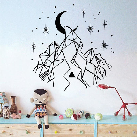 Moon with Mountain and Star Decal - H622 / 42x43cm