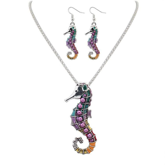 Multi Color Seahorse Necklace Earring Set