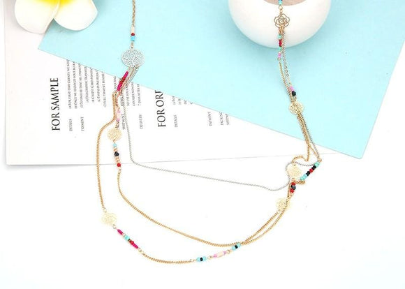 Multi-Layer Colorful Bead Link Chain Necklace