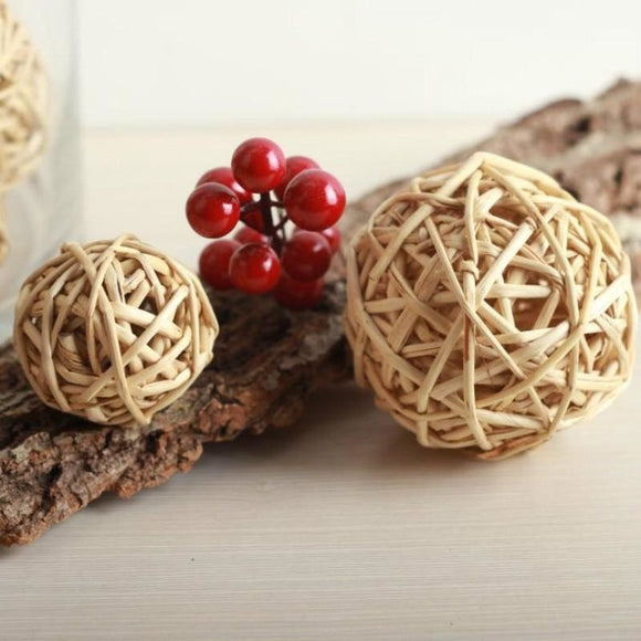 Natural Color Decorative Cane Balls - 6cm Diameter