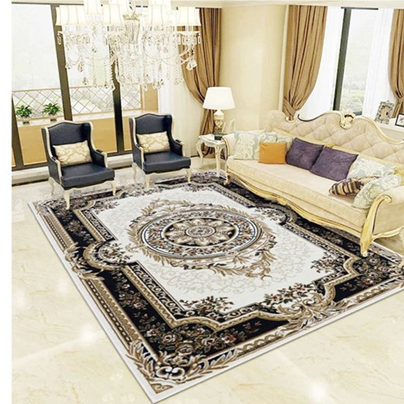 Persian Style Deep Black Carpet - Black / 1600mm x 2300mm