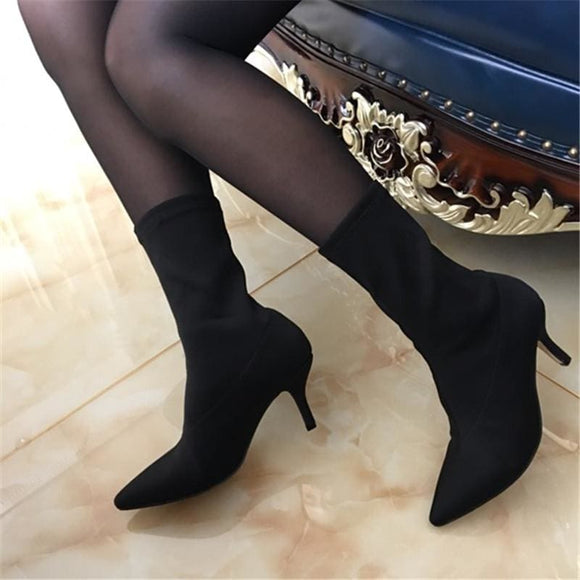 Pointed Toe Stretch Fabric Sock Boot
