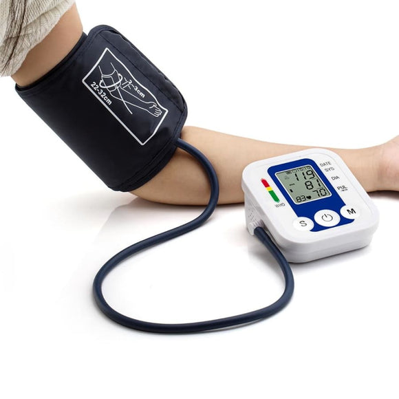 Portable Automatic Digital Lcd Blood Pressure Cuff Monitor Device - No Voice White