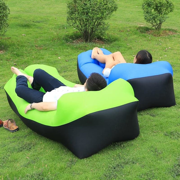 Portable Inflatable Air Lounger With Head Rest