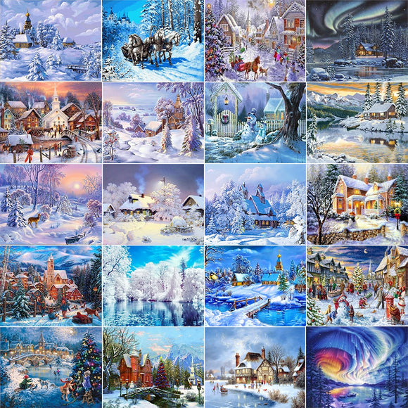 Snow Scenery DIY 3D Diamond Mosaic Craft Kit