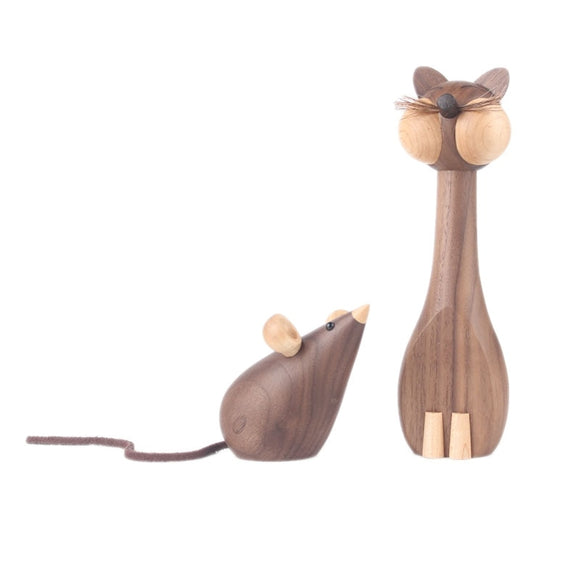 Walnut Wood Cat and Mouse Ornament