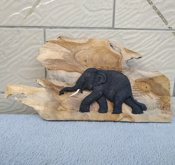 Beautiful Wood Carve Elephant on Driftwood Statue - Modern Market Online
