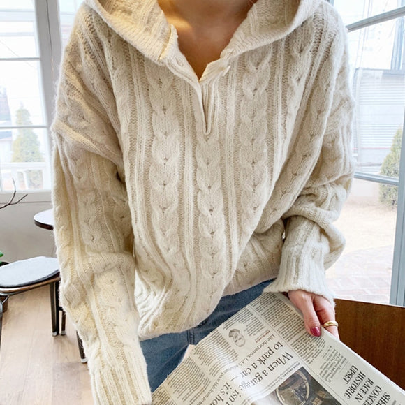 Loose Cable Knit Style Hood Pullover