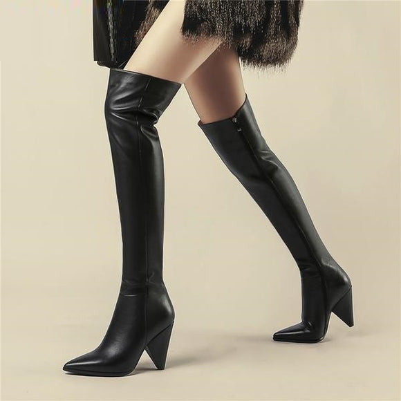 Thigh High Full Genuine Leather Boot