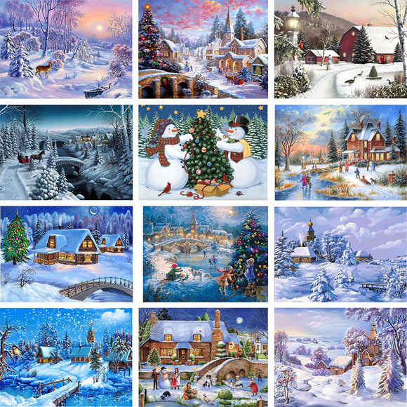 Winter and Christmas Scene 3D DIY Diamond Mosaic Kit
