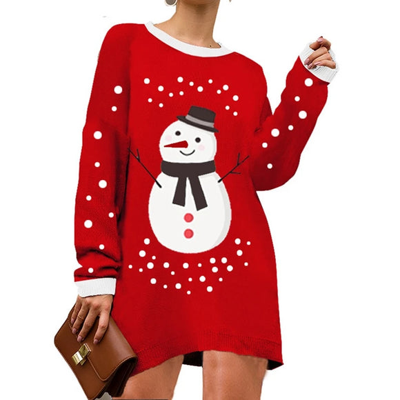 Christmas Loose Casual Knitwear Sweater Dress
