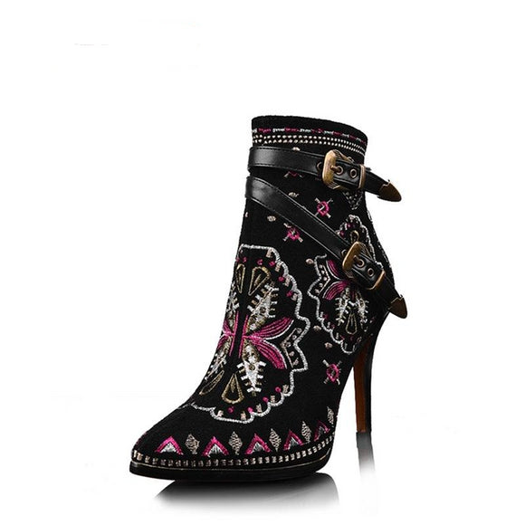 Retro Embroider High Heel Ankle Boots