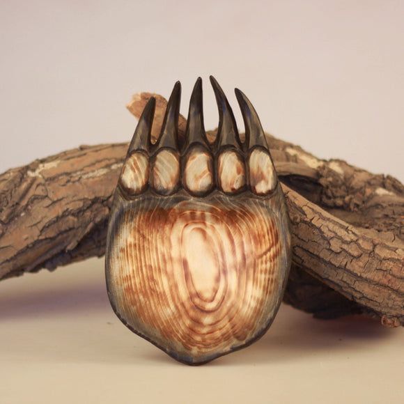 Fabulous Carved Wood Bear Paw Plate
