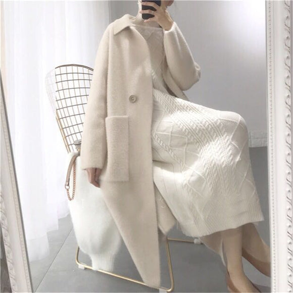 Loose Cashmere Knit Long Cardigan