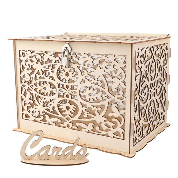 Beautiful Fret Wood Box with Lock - Modern Market Online