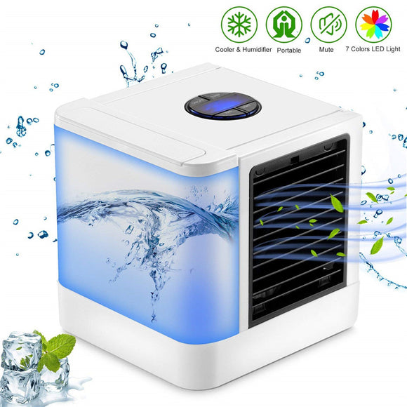 Mini Portable Air Conditioner with 7 Color Night Light for Home or Office