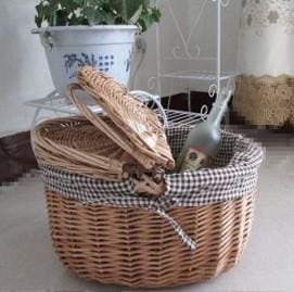 Rattan Lined Picnic Basket