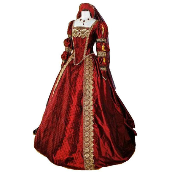 Red and Gold Tudor Times Dress - Red / XS