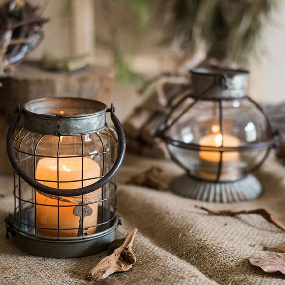 Retro Metal Lantern Candle Holder - A