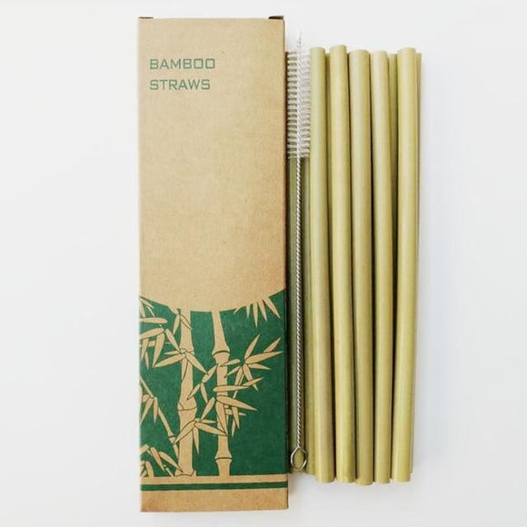 Reusable Bamboo Straws with Bamboo Straw Brush - 12 Straws