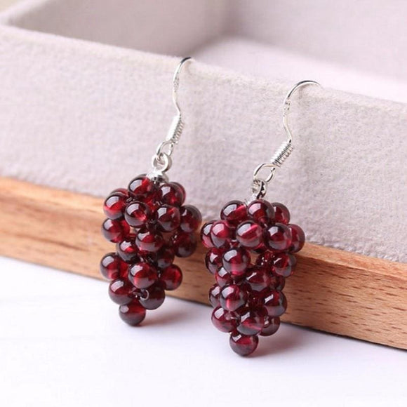 Round Garnet Grape Styled Earrings