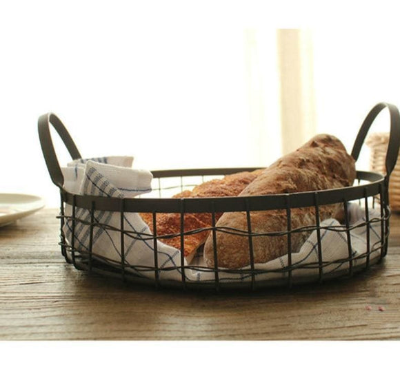 Round Hollow Iron Wire Basket with Cotton Towel Insert