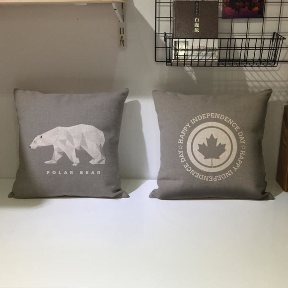 Simple Cotton Linen Gray Pillowcase