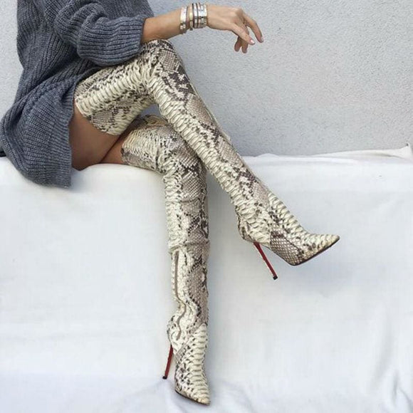 Snakeskin Thigh High High Heel Boot - Silver / 5