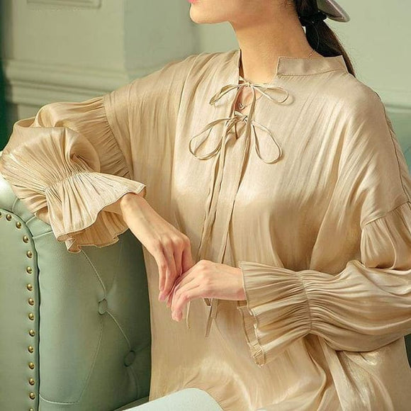 Solid Color Full Sleeve Bow Pleated Blouse