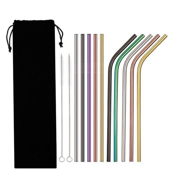 Stainless Steel 4 Piece Reusable Drinking Straw - 26.5Silver-A4