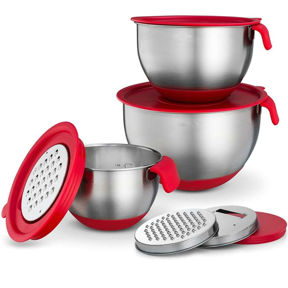 Stainless Steel Non-Slip Mixing Bowls With Attachments