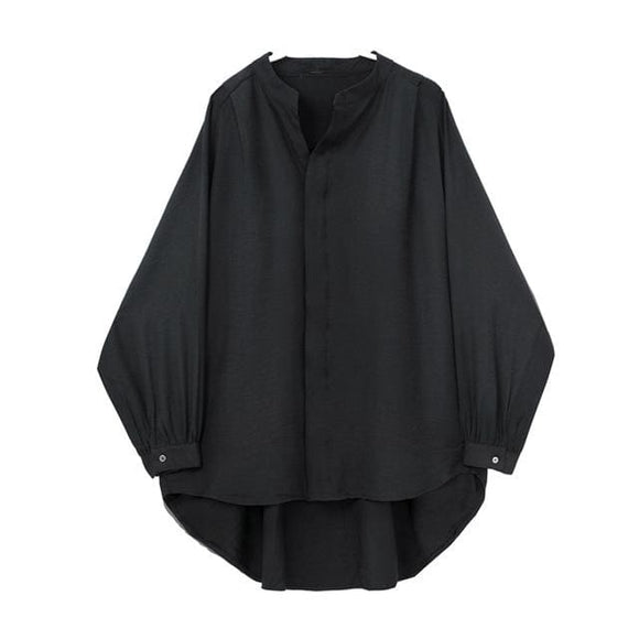 Stand Collar Loose Shirt - Black Cyx1006 / One Size