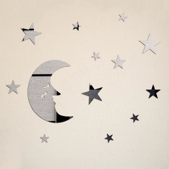 Star and Moon Mirrored Vinyl Wall Decal