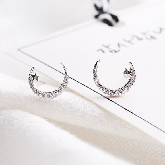 Sterling Silver Star & Moon Stud Earrings