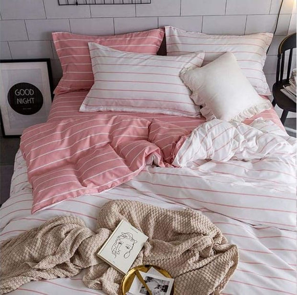 Stripe Bedding White and Pink Set