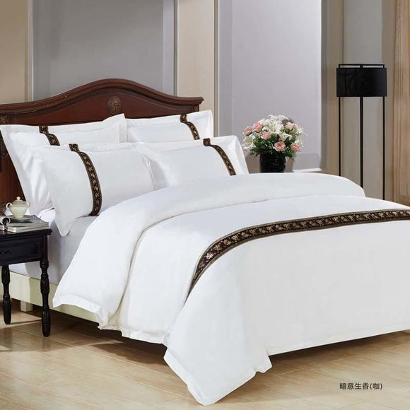 Stunning Luxury Satin Strip Bed Duvet Set