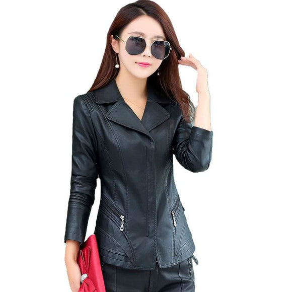 Stylish Faux Leather Short Jacket Plus Sizes Available