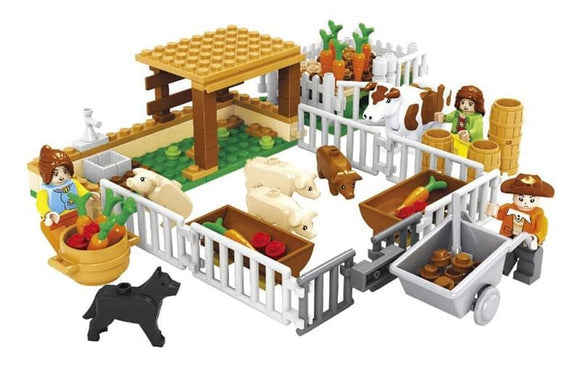 The Farm Market Animal Pen Building Blocks Set