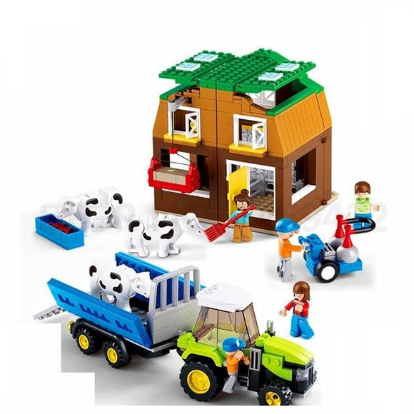 The Farm Market Cow Barn Building Blocks Set