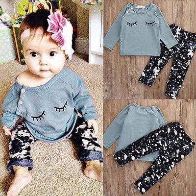 Toddler Two Piece Long Sleeve Outfit - Multi / 4-6 months