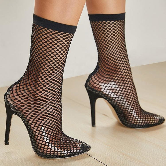 Transparent Mesh Stretch Fabric Ankle Boot - Black / 4